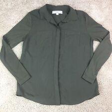 Long Sleeve button Down Blouse SIZE s / p ANN TAYLOR LOFT Army Green Military