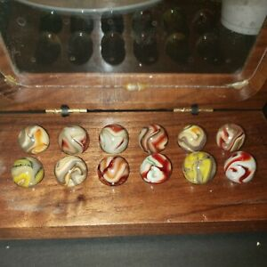 Jabo Tribute to Friendship Cherry Wood Collector Box of 12 mint Marbles