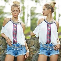 Boho Womens Cold Shoulder Chiffon Tops Summer Short Sleeve Casual T-shirt Blouse