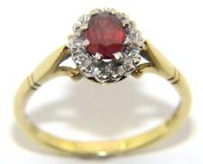 Mujer Mujer 18 Quilates 18Ct Oro , Diamante & Naranja Piedra Anillo Tamaño Ru O