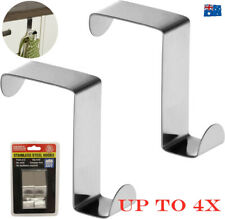 2/4x Stainless Steel Over Door Hook Hanger Coat Compact Clothes Holder Kitchen