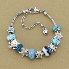 Ocean Style Blue Glass Beads Sea Turtle Seafish Charm Bracelet Chain Bangle Gift