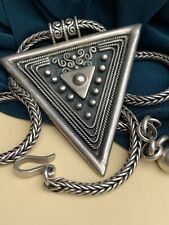 Vintage Marked 950 Silver Wheat Chain Necklace Triangular Pendant 56g Mexico