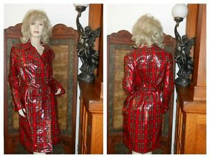 NWT S/M Shiny Red vinyl Raincoat plaid PU Trench Coat pvc rain jacket Slicker