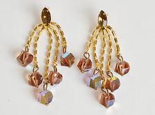 Vintage 60s 70s AB Crystal Runway Rhinestone Dangle Chandelier Chain Earrings