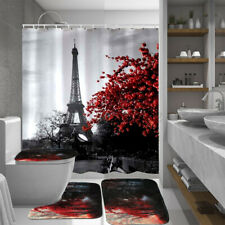 Eiffel Tower Waterproof Shower Curtain Bathroom Toilet Seat Cover Non-slip  New