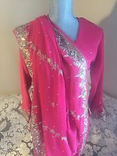 Pink Party Formal Gold Beading Saree Sari With Blouse Petticoat