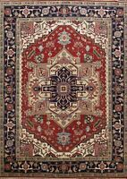 Geometric RUST/ NAVY Heriz Serapi Oriental Area Rug Wool Hand-knotted 9x12 ft