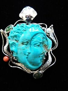 Master Hand carved turquoise cameo artist signed, V. Langella from Italy