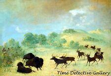 Elk & Buffalo Making Acquaintance, Texas - 1847 - George Catlin Art Print