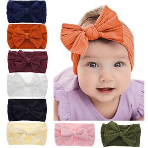 8pcs Baby Girls Elastic Nylon Headbands Newborn Toddlers Hairbands Hair Bows Set