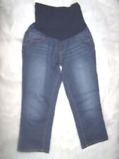 Womens Motherhood Maternity Cropped Capri Blue Denim Jeans Size Small  EUC