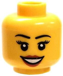 Lego Female with Open Mouth Smile, Red Lipstick Minifigure Head