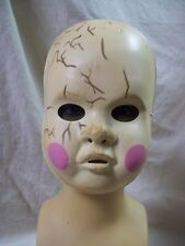 Creepy Baby Doll Costume Mask Haunted Dirty Cracked Clown Haunted Dolly Ghost