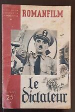 ROMANFILM: le dictateur. Récit, histoire, les coulisses d'un film. CHAPLIN 1946