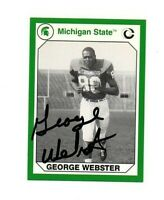 George Webster Michigan State MSU Spartans football signed card DECEASED
