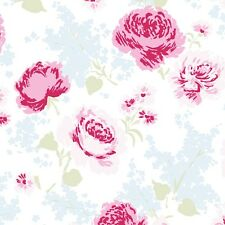 Rachel Ashwell Ballet Rose Pink Large Rose Cluster on Blue & White Fabric - FQ