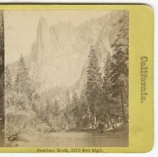 Stereoview Sentinel Rock Yosemite 1870s J.S. & J.W.  Moulton Landscape