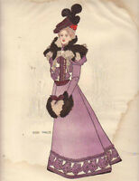 1897 Harpers Bazar Fashion print - calling costume mauve cloth and violet velvet