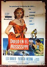 Duelo en el Mississippi (Lex Barker) Argentinean Argentina Movie Poster 50s