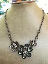 Flowers Antiqued Silver Tone Necklace More Modern Rhinestone & Lucite