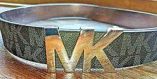 Michael Kors Women's Signature MK Silver Logo Buckle Belt Black Size L New