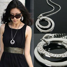 Long Chain Fashion Women Crystal Rhinestone Silver Plated Pendant Necklace Gift