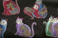 Cat i tude II playful cats black multi metallic Benartex fabric