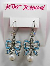 Betsy Johnson Anchors Away Blue & White Striped Bow Crystal Silver Tone Earrings