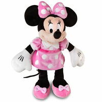 """Disney Authentic Pink Dress Minnie Mouse Polka Dot Plush Toy 14"""" Gift NEW"""