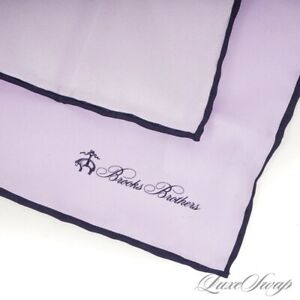 NWT #1 MENSWEAR Brooks Brothers Solid Lilac Navy Blue Piped Silk Pocket Square