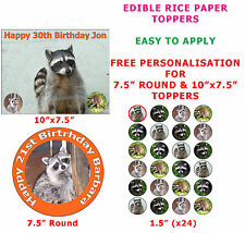 Personalised Raccoon North American Mammal Cake/Cupcake Topper On Rice Paper
