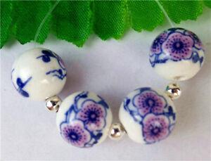 4Pcs 12mm White&blue Printing Ceramics Ball Height Holes Bead BV58469
