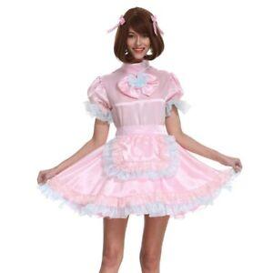 Sissy Girl Maid Pink Lockable Bow Satin Dress Crossdressing Cosplay Costume