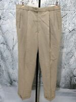 Greg Peters Golf Men's Size 36x32 Beige Tan Pants Khakis Chinos Pleated Cuffed