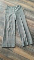 Hobbs Size 10 Brown Grey Check Wide Leg Palazzo Trousers Wool Blend Smart Work
