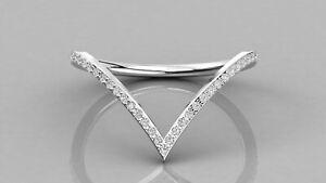 950 Platinum V Shape Statement Wedding Band/Christmas Gift