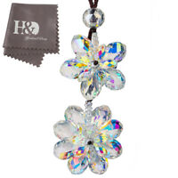 New Hanging Suncatcher Crystal Flower Prisms Rainbow Pendant Car Interior Decor