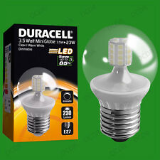 2x 3.5W Dimmable Duracell LED Clear Mini Globe Instant On Light Bulb ES E27 Lamp