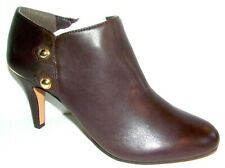 New Vince Camuto Vemmey Leather Metal Side Button Booties Chocolate Brown 7 M