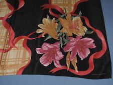 JNY Jones New York 100% Silk Scarf Black Pink Gold Lily Floral Ribbon