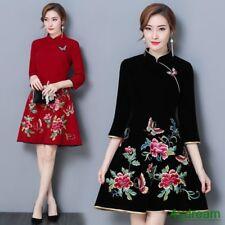 Chinese Womens Velvet Floral Embroidery Qipao Dress Pretty Slim A-Line Cheongsam