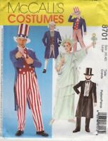 McCall's Costumes---Pattern 8701 for Adult's Costume Size Large (40, 42)