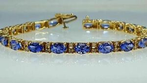 14 Ct Tanzanite & Diamond Tennis bracelet 14k yellow gold Over