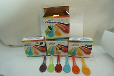 TASTING SPOONS GLASS SET 24 DANESCO HORS D'OEUVRES TAPAS APPETIZERS 6 COLORS