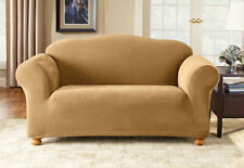 Sure Fit Pique 1pc Love Seat Slipcover Box Seat Cushion in Antique Gold