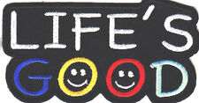 """LIFE'S GOOD"" - HUMOR, FUNNY, SAYING,WORDS/Iron On Patch- Sports, Bikers, Cycles"
