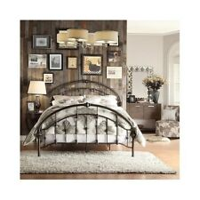 Queen Size Bed Arched Headboard Footboard Frame Antique Rustic Victorian Dark