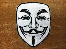 V for Vendetta Anonymous Guy Fawkes Mask Iron on Embroidered