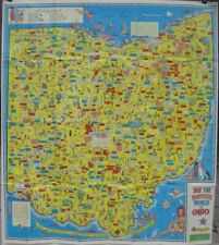 Official Large-Format 1965 OHIO Pictorial Road Map Colorful Artwork Highway Dept